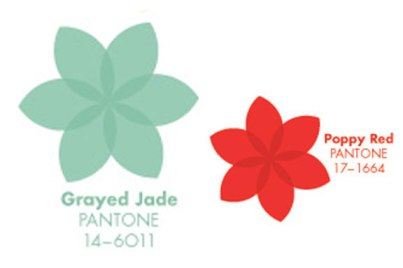 Grayed Jade with Poppy Red