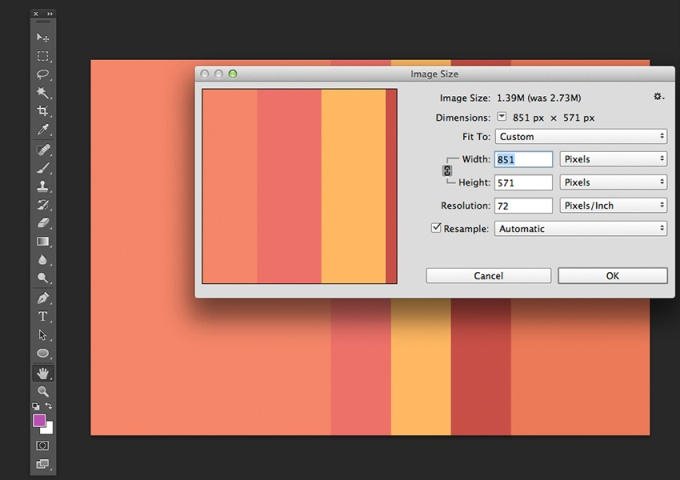 Resize the palette