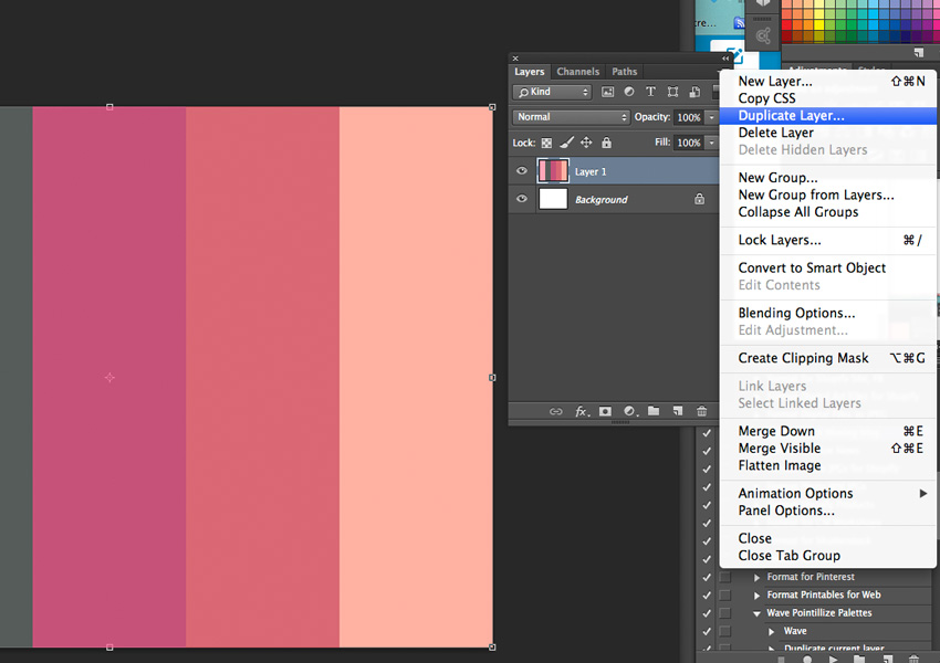 Duplicate palette layer