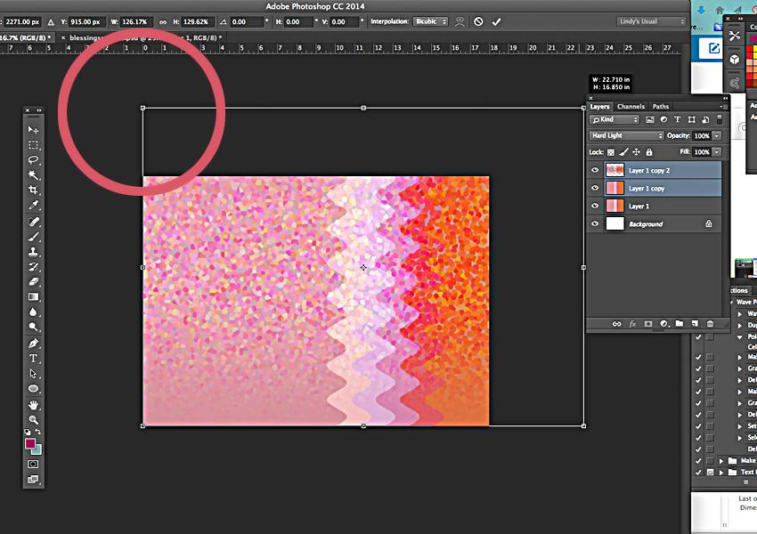 Enlarging the palette.