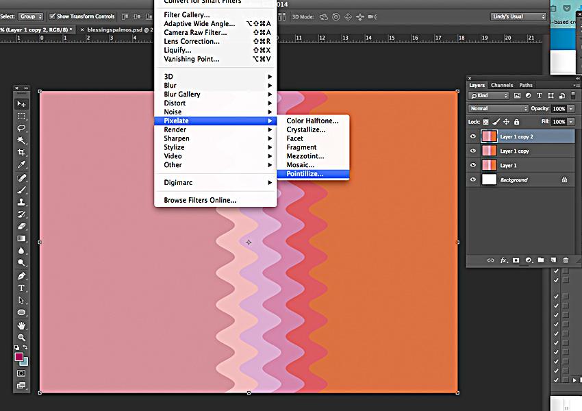 Go to Filter, Pixelate, Pointillize...