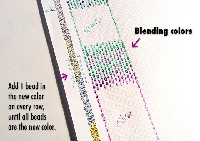 Blending bead colors to make ombré effect