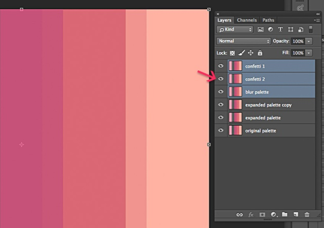 Step 2: Duplicate your palette layer 3 more times