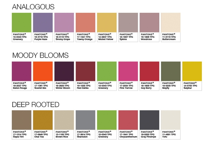 Pantone color palettes using Greenery.