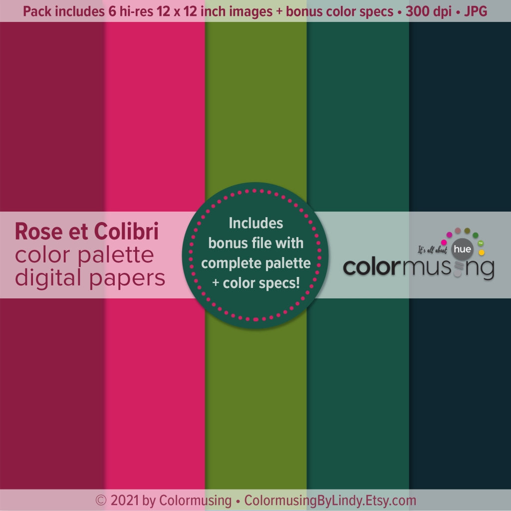 New Digital Palette Papers set: Rose et Colibri